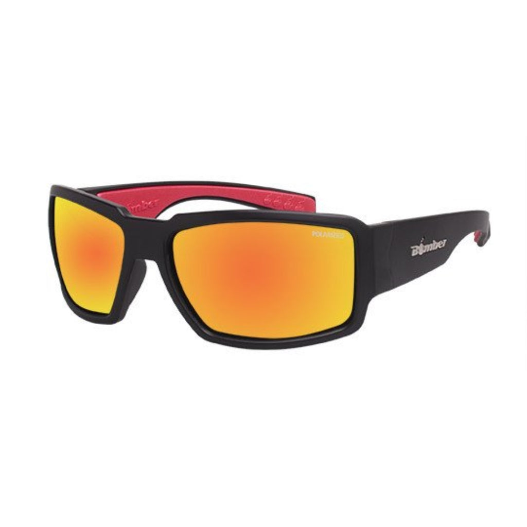 Bomber Sunglasses - Boogie Bomb Matte Black Frm / Red Mirror Polarized Lens / Red Foam