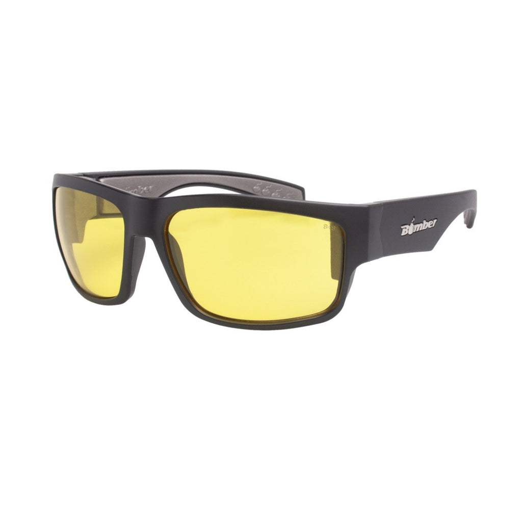 Bomber Sunglasses - Tiger Bomb Matte Black Frm / Yellow Pc Safety Lens / Gray Foam