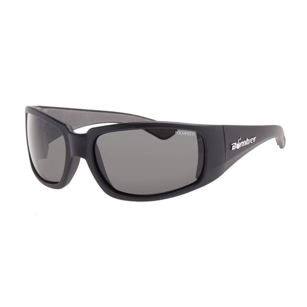 Bomber Sunglasses - Stink Bomb Matte Black Frm / Smoke Polarized Lens / Gray Foam
