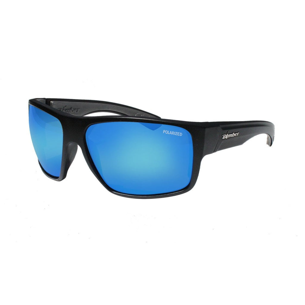 Bomber Sunglasses - Mana Bomb Matte Black Frm / Ice Blue Mirror Polarized Lens / Gray Foam