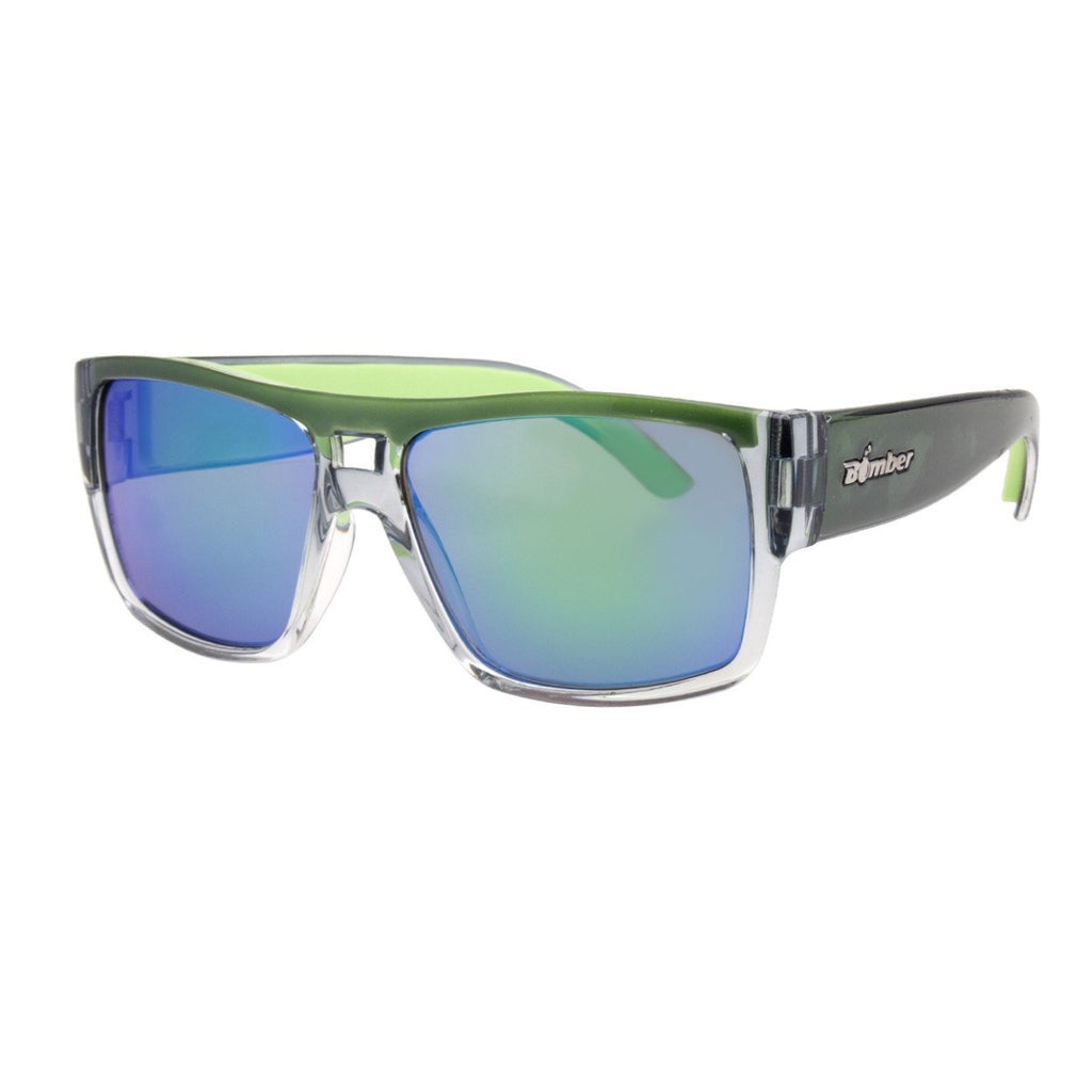 Bomber Sunglasses - Irie Bomb 2 Tone Crystal Smoke / Green Mirror Pc Lens / Green Foam