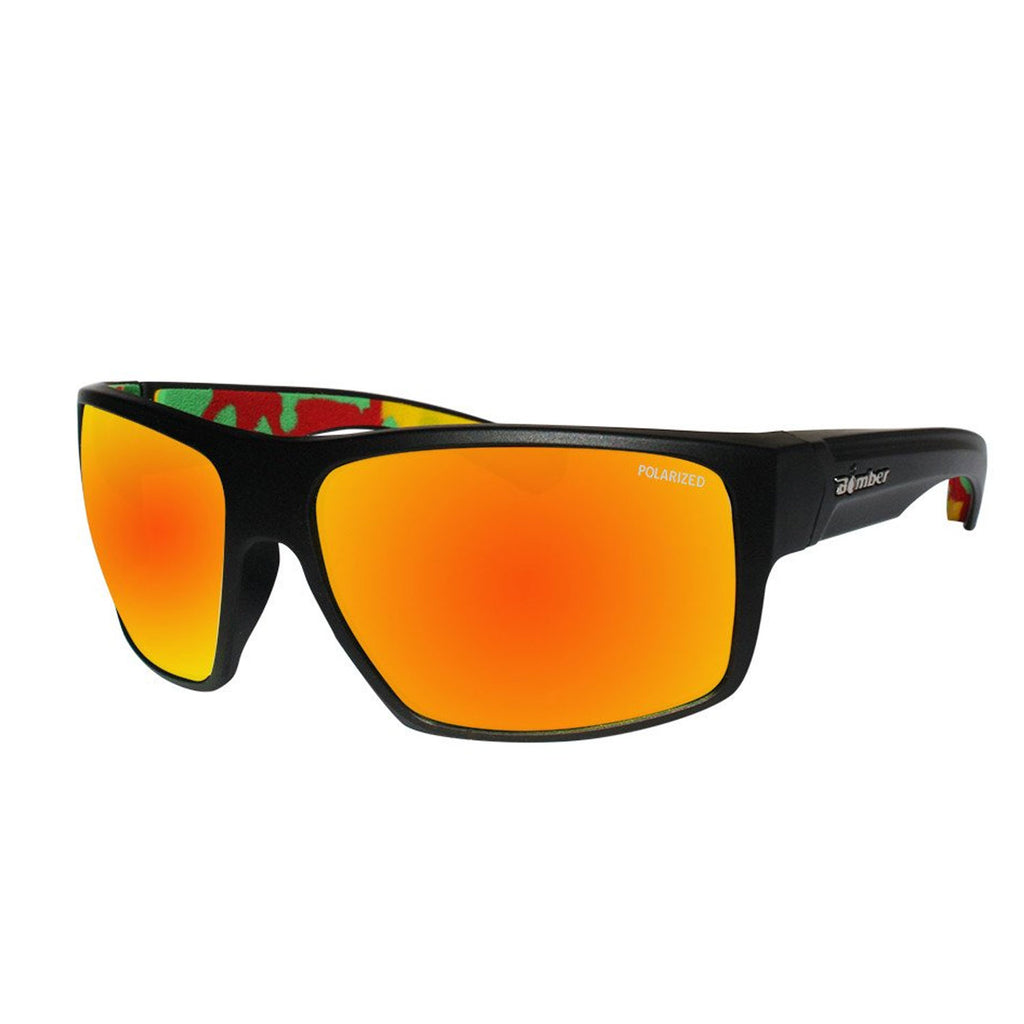 Bomber Sunglasses - Mana Bomb Matte Black Frm / Red Mirror Polarized Lens / Rasta Foam