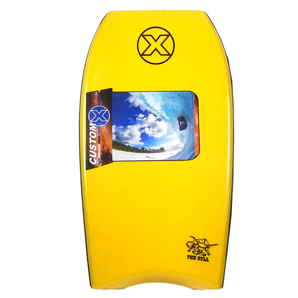 "Custom X Bull PE 43.5"" CR Bodyboard - Yellow deck, Yellow rails, White Bottom"
