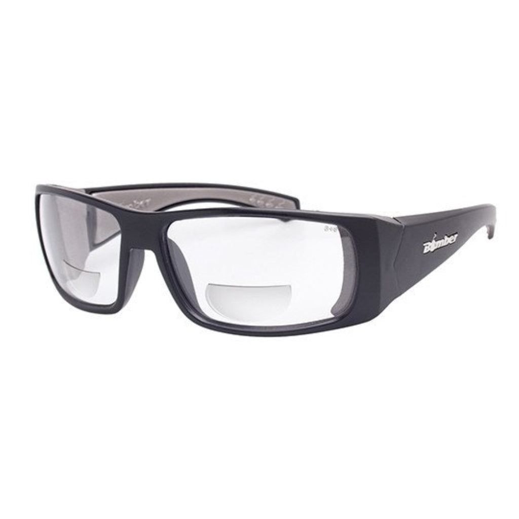 Bomber Sunglasses - Pipe Bomb Matte Black Frm / Clear Pc Safety 2.5 Bi Focal Lens / Gray Foam