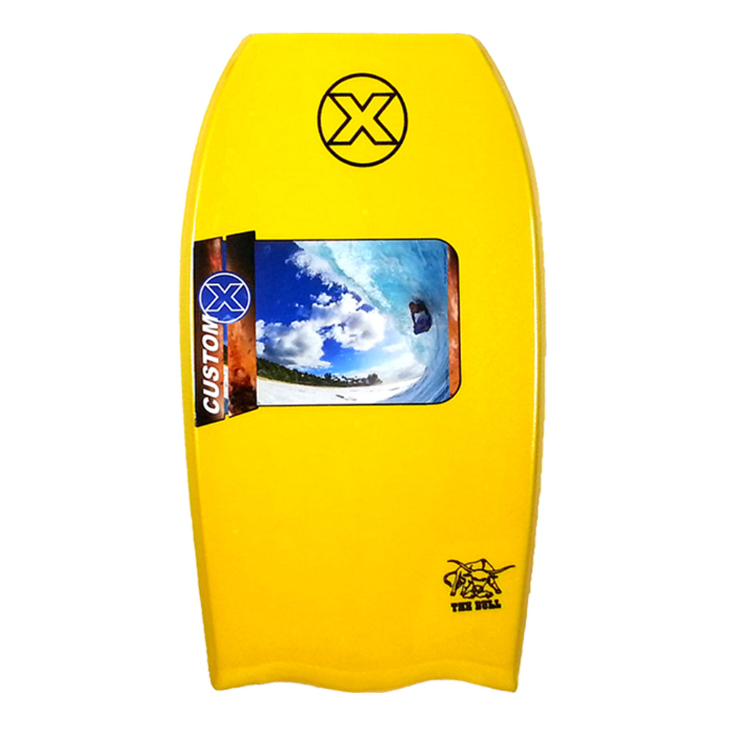 Custom X Bull PP 43.5 BT Bodyboard - Yellow deck, Yellow rails, White Bottom