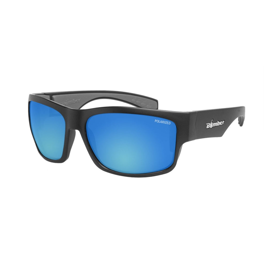 Bomber Sunglasses - Tiger Bomb Matte Blk Frm / Ice Blue Polarized Lens / Gray Foam