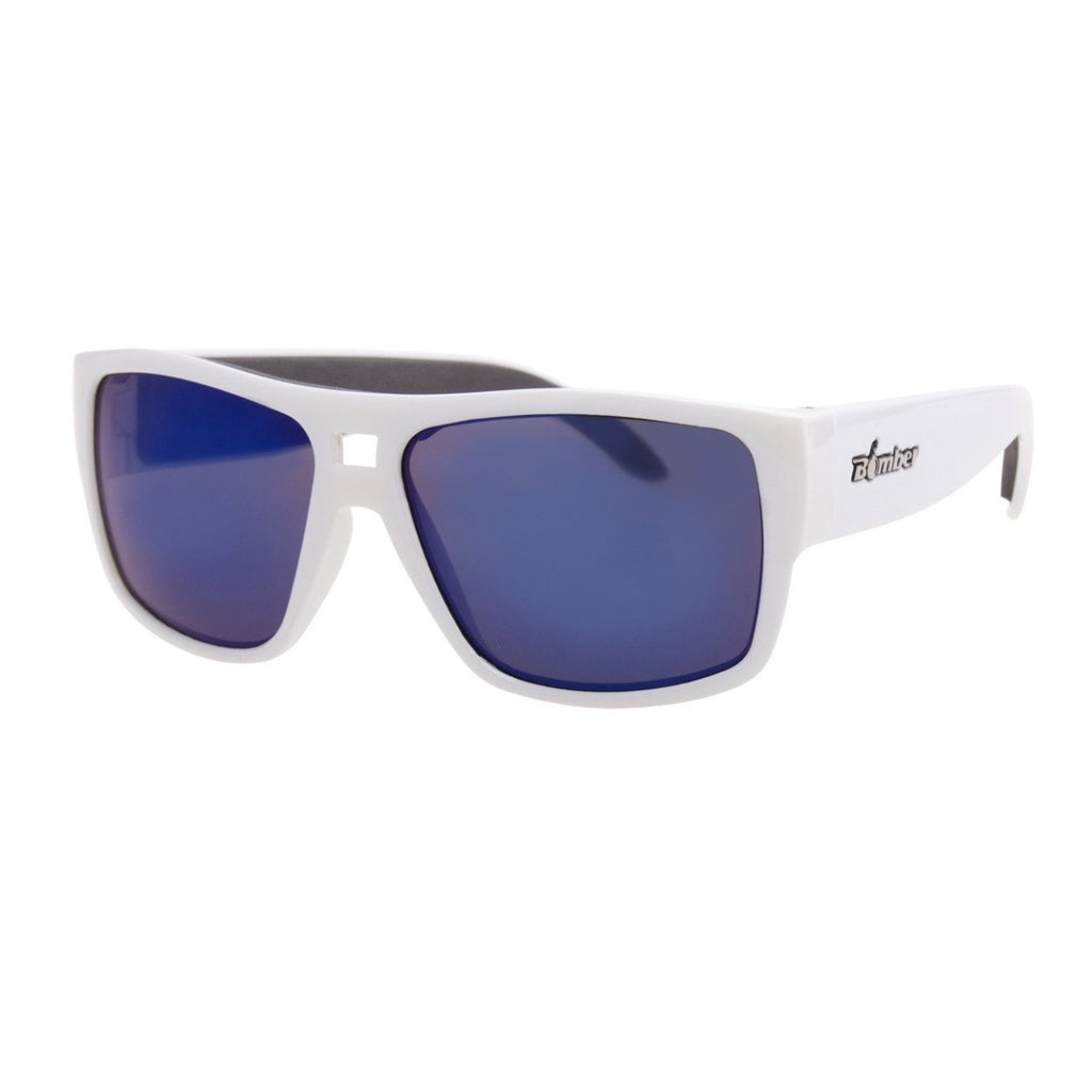 Bomber Sunglasses - Irie Bomb Glossy White Frm / Blue Mirror Pc Lens / Gray Foam