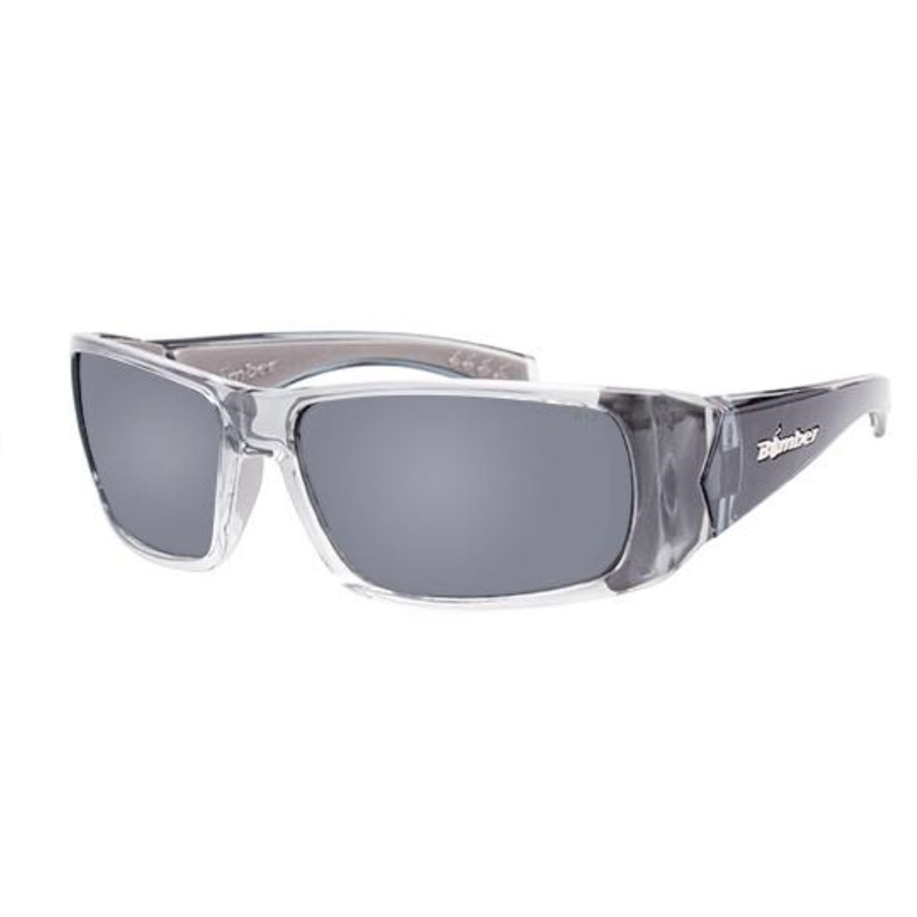Bomber Sunglasses - Pipe Bomb 2 Tone Crystal Smoke Frm / Silver Mirror Pc Safety Lens / Gray Foam