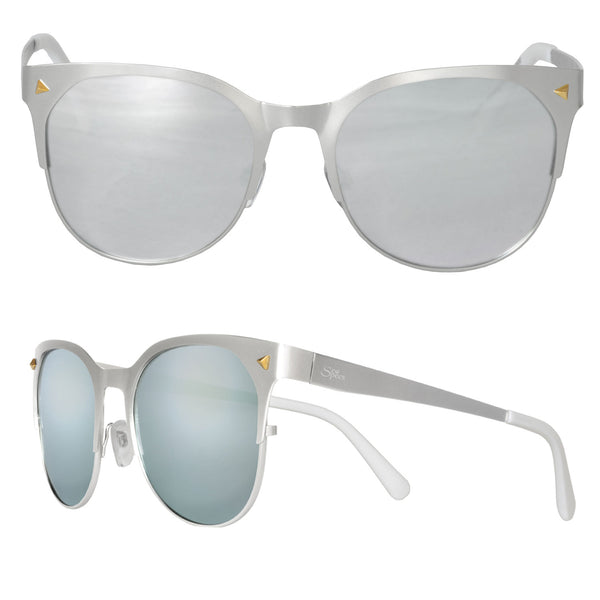 Seaspecs Sunglasses - Glacier Matte Silver Frame With Silver Mirrored Polarized Lenses