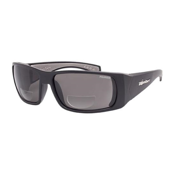 Bomber Sunglasses - Pipe Bomb Matte Black Frm / Smoke Polarized 1.5 Bi Focal Lens / Gray Foam