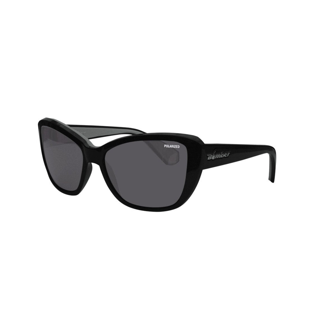Bomber Sunglasses - Labomba Glossy Black Frm / Smoke Polarized Lens / Gray Foam