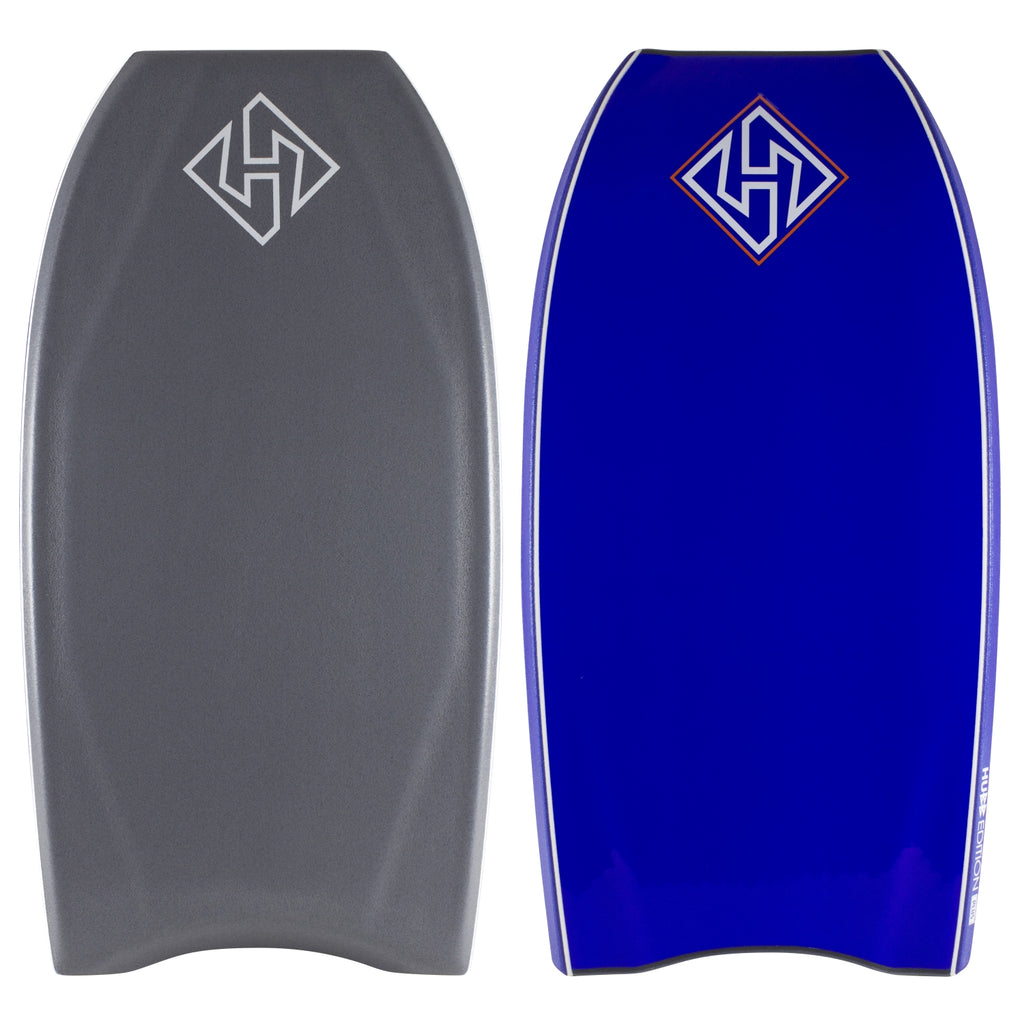 Hubboards Hubb Quad Core Plus CT 39 Bodyboard - Grey deck, Blue rails, Electric Blue bottom
