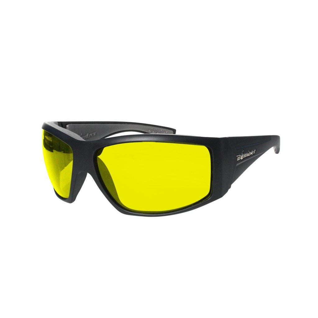 Bomber Sunglasses - Ahi Bomb Matte Black Frm / Yellow Pc Safety Lens / Gray Foam