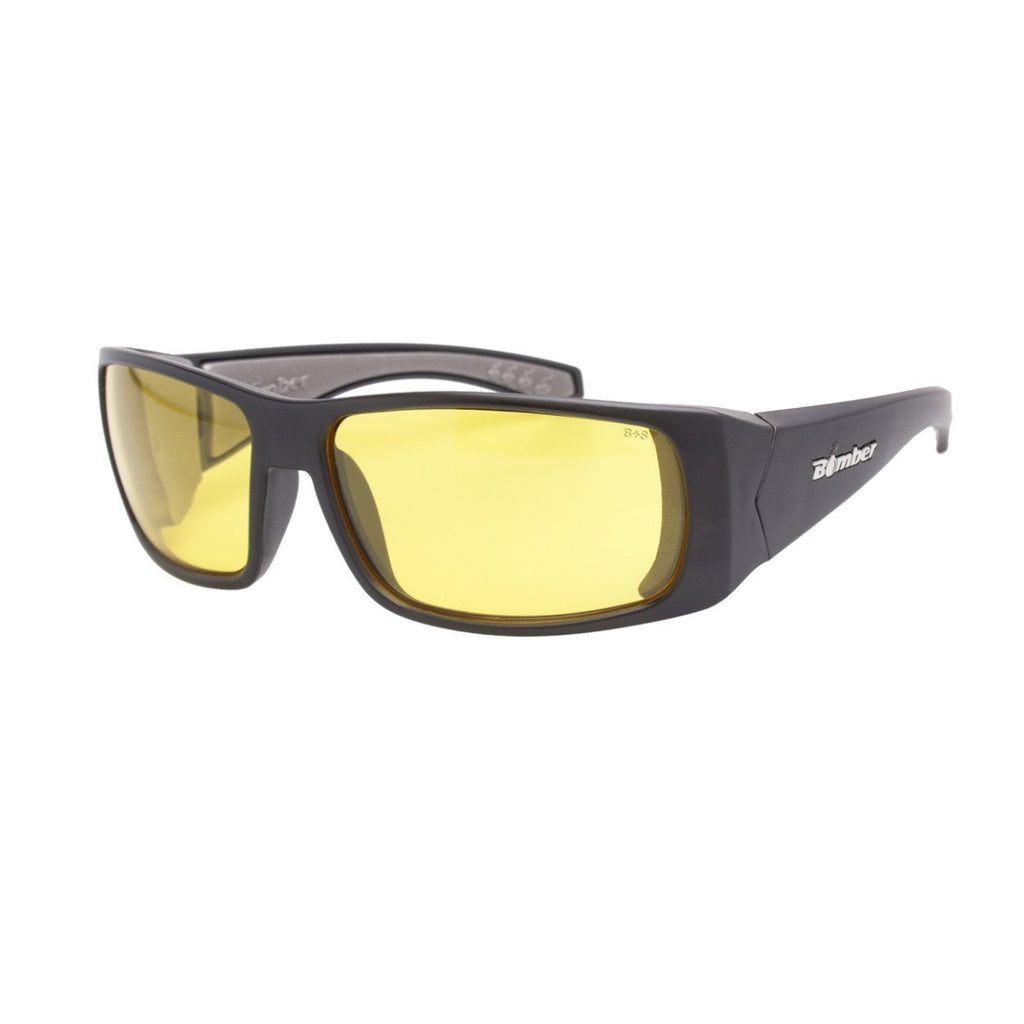 Bomber Sunglasses - Pipe Bomb Matte Black Frm / Yellow Pc Safety Lens / Gray Foam
