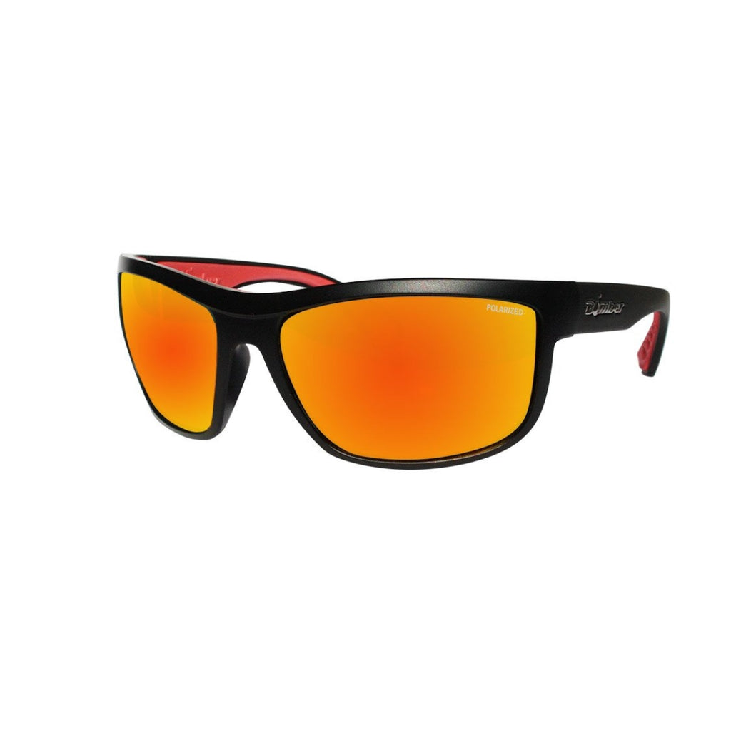 Bomber Sunglasses - Hub Bomb Matte Black Frm / Red Mirror Polarize Lens / Red Foam
