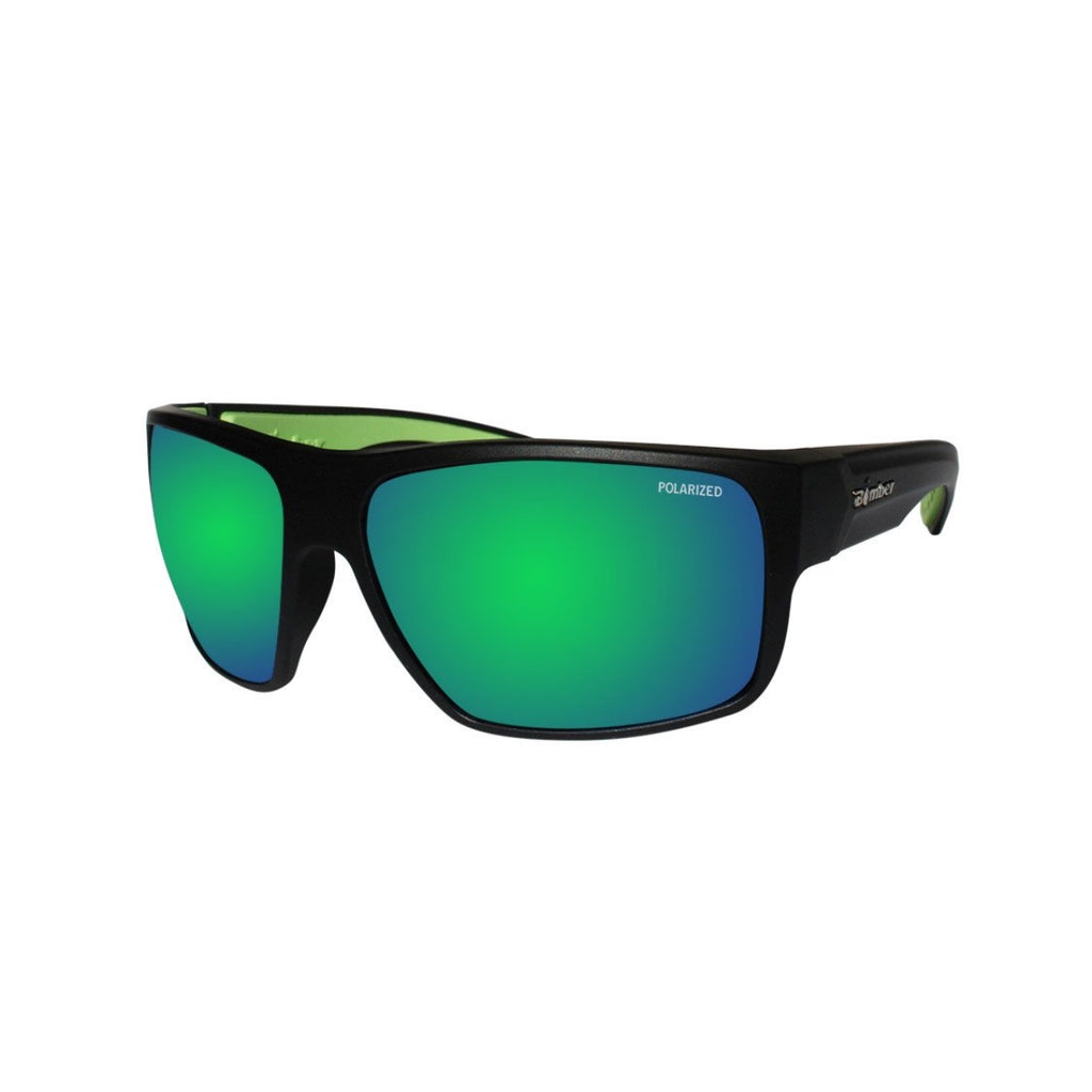 Bomber Sunglasses - Mana Bomb Matte Black Frm / Green Mirror Polarize Lens / Green Foam