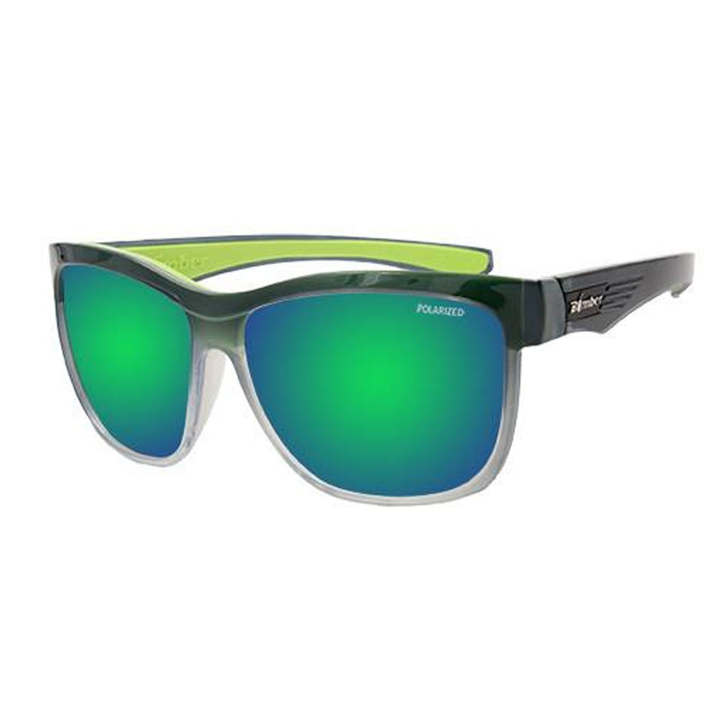 Bomber Sunglasses - Jaco Bomb 2 Tn Crystal Smoke Frm / Green Mirror Polarized Lens / Green Foam