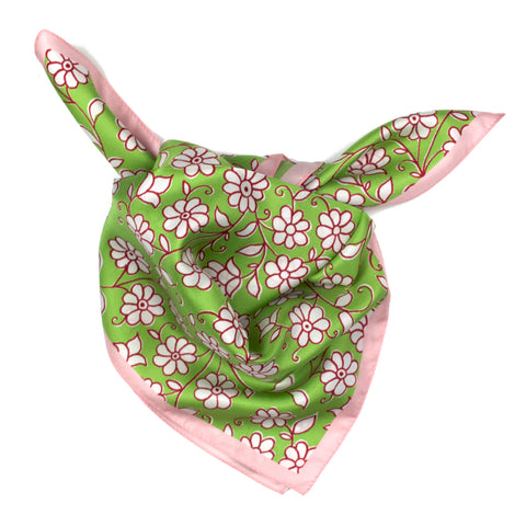 Epice Small Silk Scarf in Green