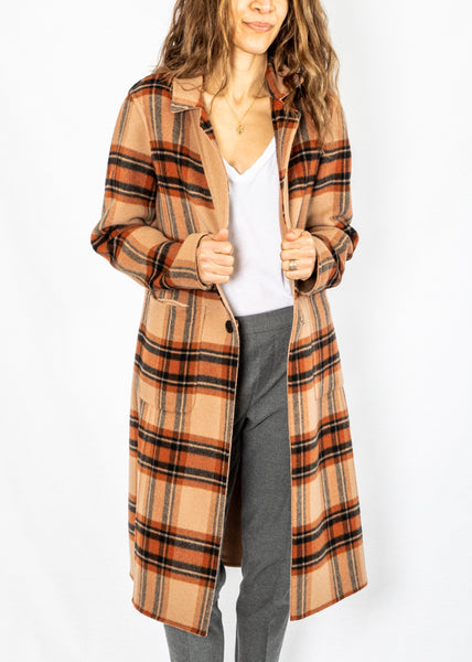 Maliparmi Reversible Camel/Plaid Coat