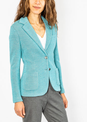 Circolo Honeycomb Blazer in Tiffany Blue
