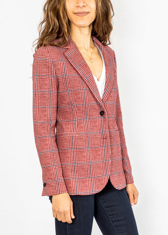 Circolo Long Slim Blazer in Red Plaid