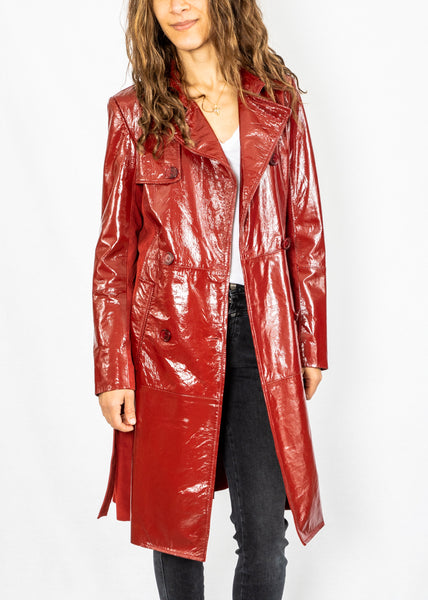 Maliparmi Red Patent Trench Coat
