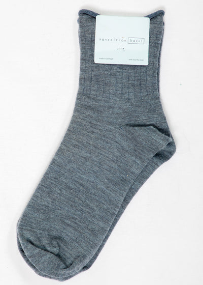 Hansel From Basel Cashmere Short Crew Socks in Light Blue