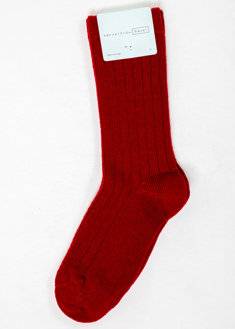 Hansel From Basel Cashmere Blend Socks in Red