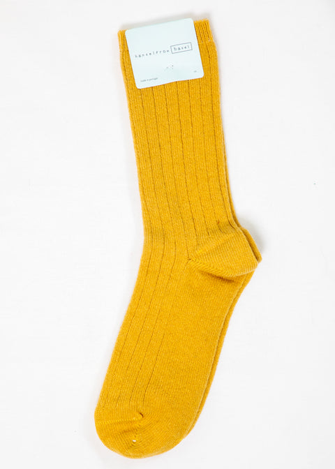 Hansel From Basel Cashmere Blend Socks in Mustard