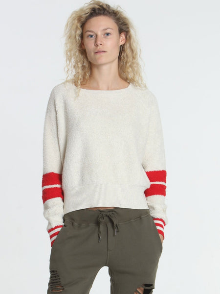 Label+Thread Loopy Crop Top in Ecru/Red