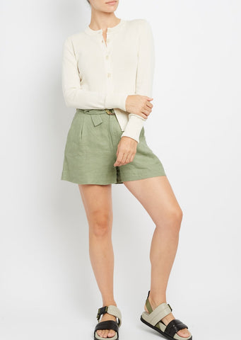 Inhabit Cotton Cuffed Cardi in White