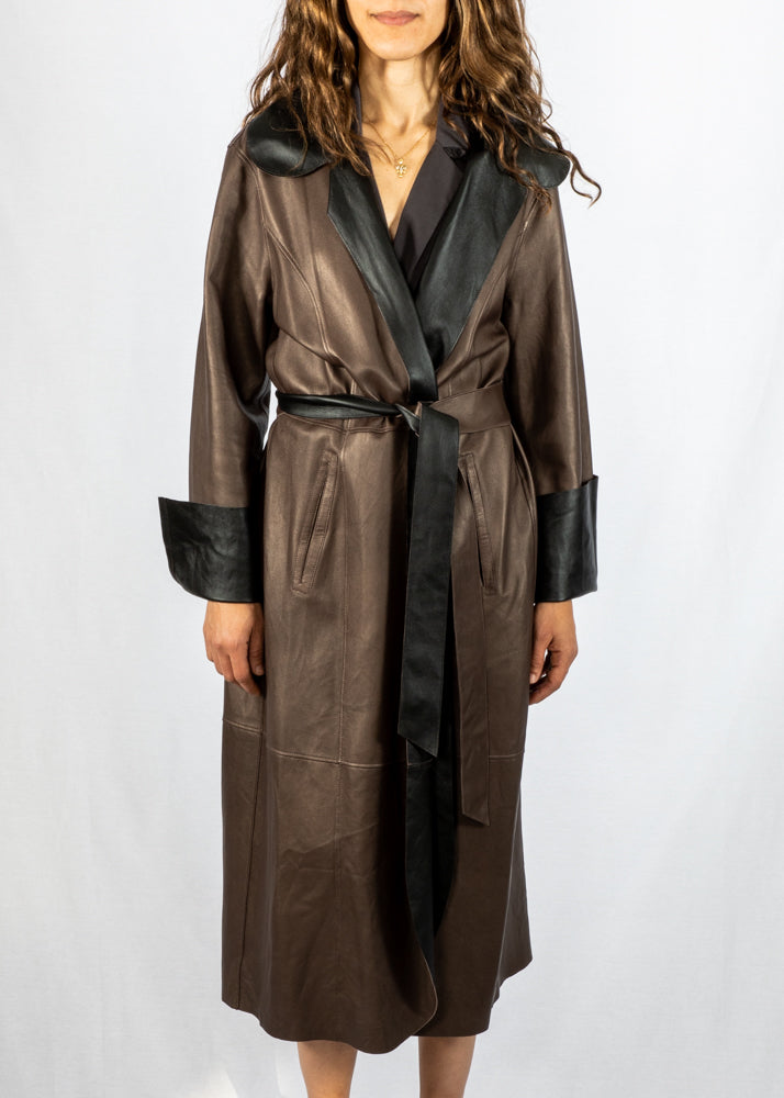 Elaine Kim Reversible Leather Sandia Trench