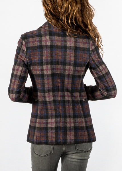 Circolo Long Slim Blazer in Purple Plaid