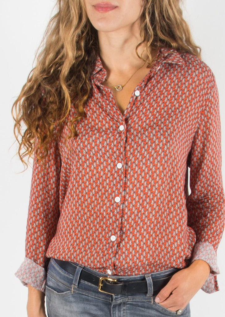 Leylie Guilda Shirt in Orange Cats