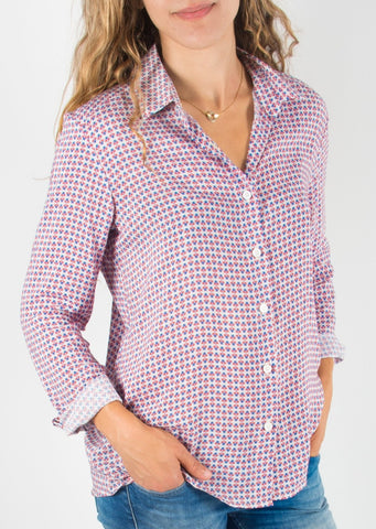 Leylie Guilda Shirt in Red & Blue Print