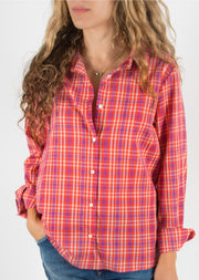 Leylie Jess Shirt in Coral & Navy Plaid