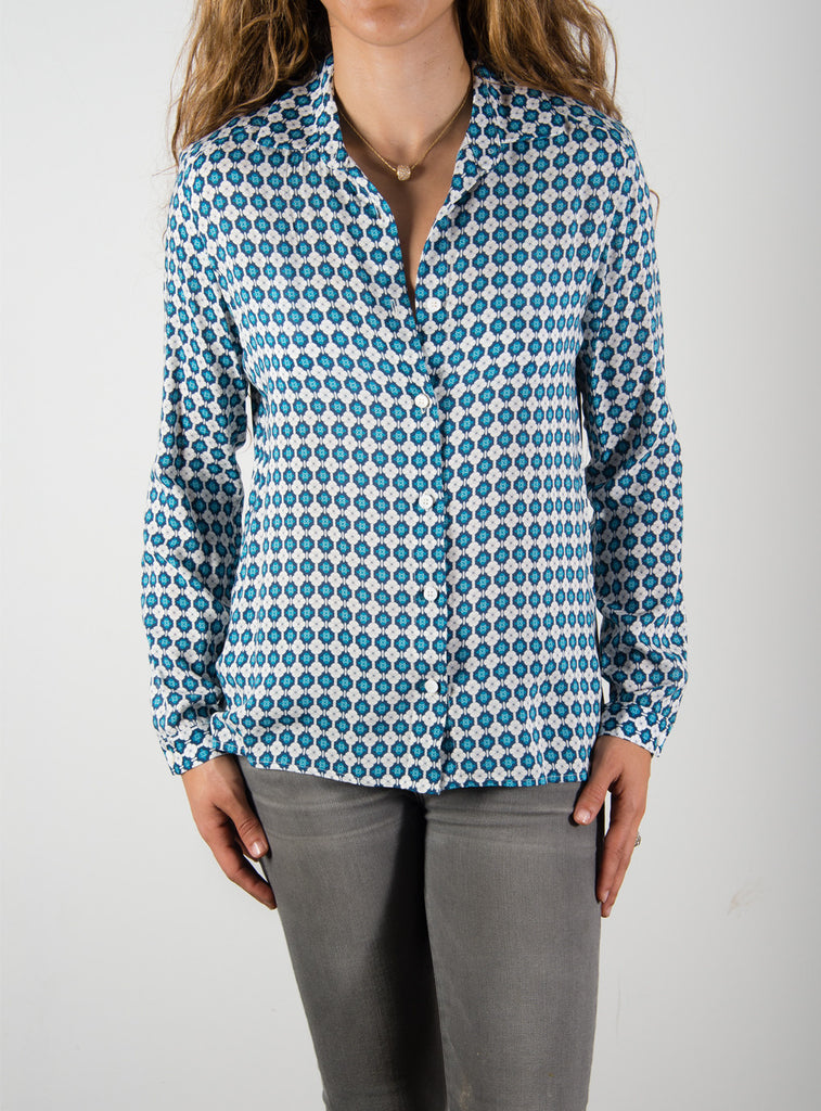 Leylie Guilda Shirt in Blue/White Print