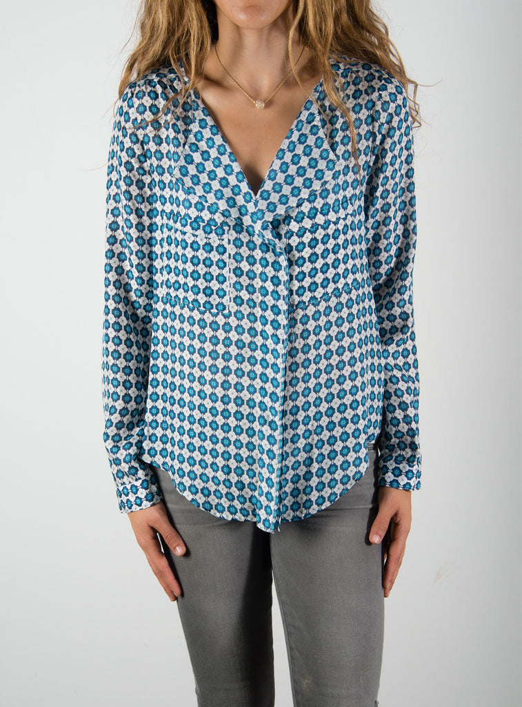 Leylie Yassi Blouse in Blue/White Print