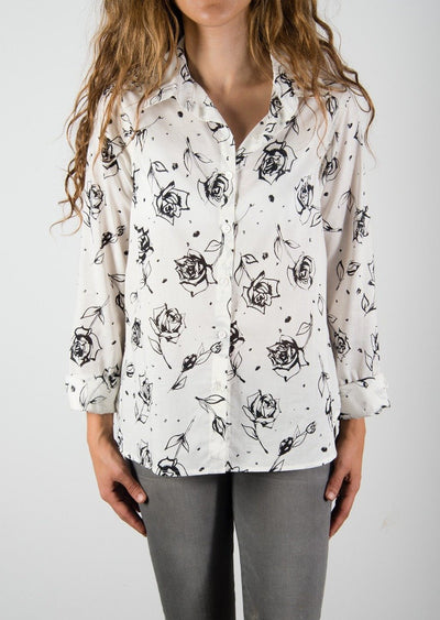 Leylie Jess Shirt in Black Roses