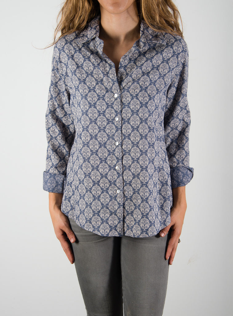 Leylie Chris Shirt in Blue Print