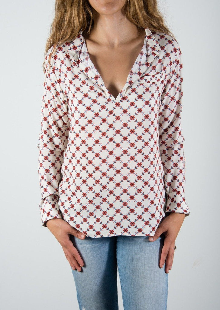 Leylie Liz Shirt in Red Floral Print