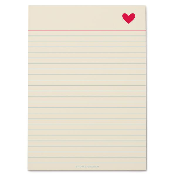 Snow & Graham Heart Notepad