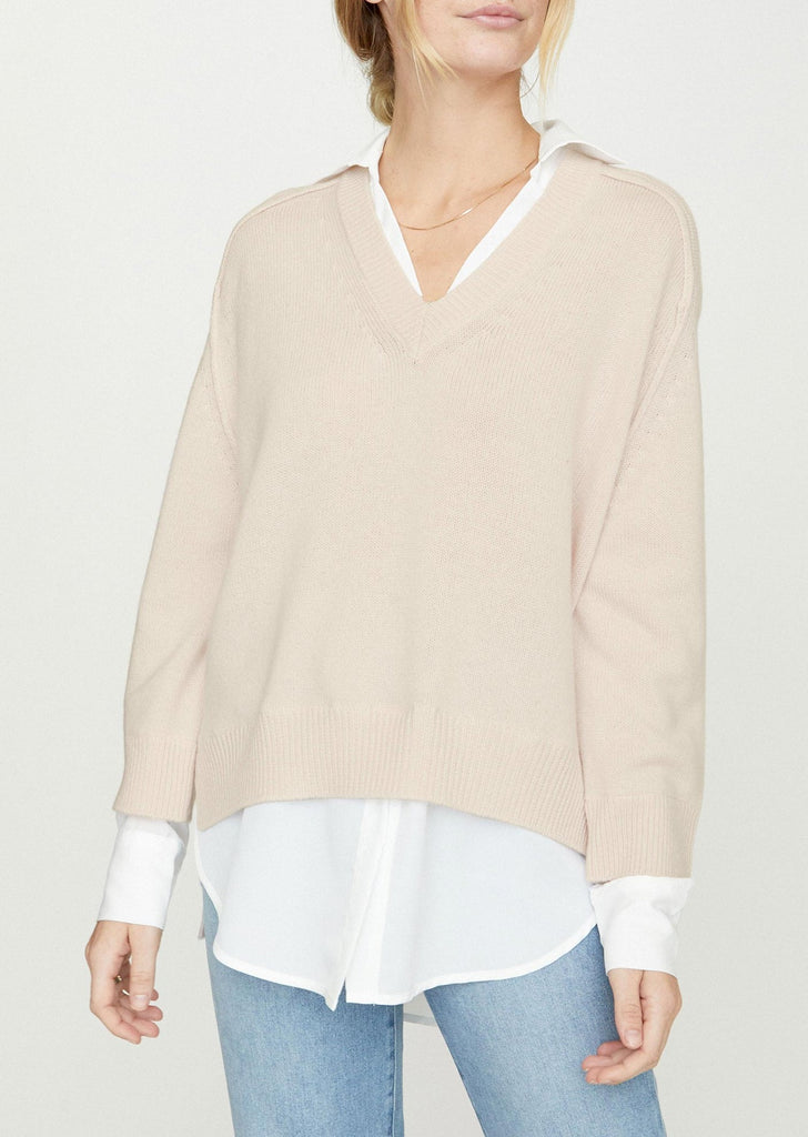 Brochu Walker Layered V Pullover in Almond