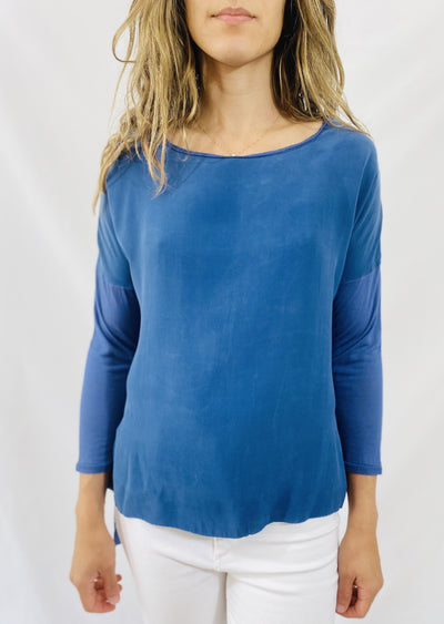 AqC Grace 3/4 Sleeve Tee in Blue