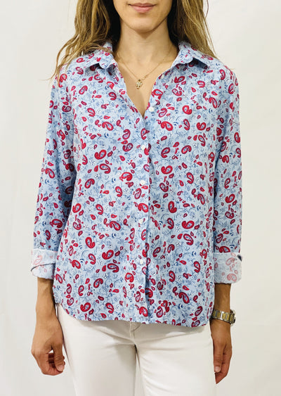 "Leylie Jess Shirt in Blue/Red ""Men's Tie"" Print"