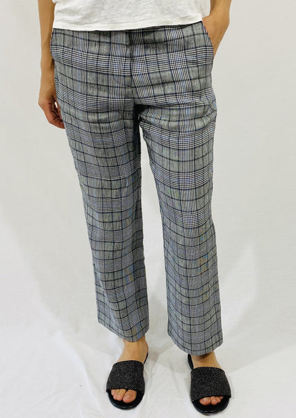 ei8htDreams Crop Linen Plaid Trouser