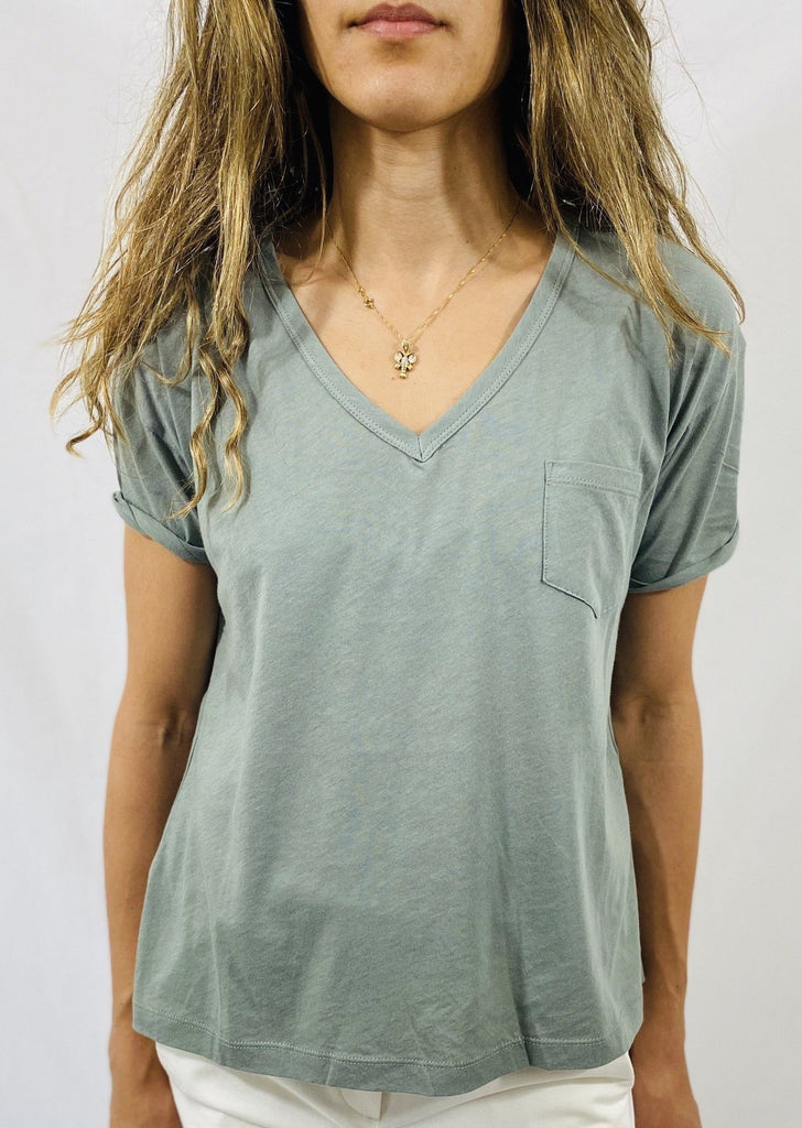 Closed V Tee in Dusty Pine