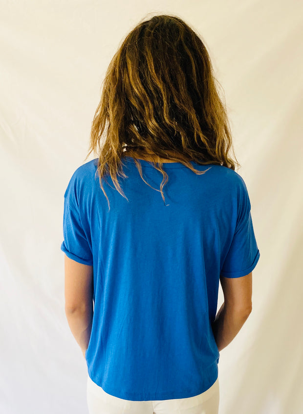 Closed V Tee in Bluebird