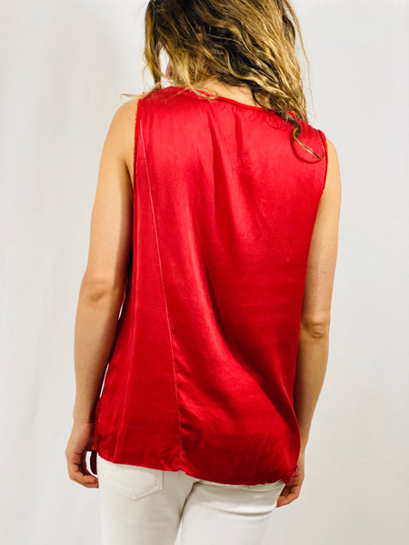 Maria Muscle Tee in Red