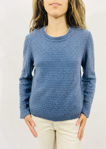 Inhabit Pointelle Crew in Blue